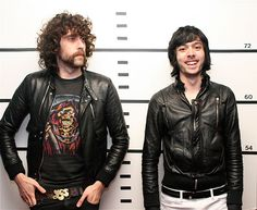 The French duo on Daft Punk, the nature of hype, why they no longer do remixes, painting John Travolta, and being MySpace friends with the Jonas Brothers. Justice Band, Band Jacket, Gaspard, Electro Music, Trending Topics, Music Is Life, Interview, Leather Jacket, Singer