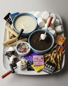 For the Family: Dylan's Candy Bar Chocolate Dipping Station Chocolate Marshmallow Cookies, Chocolate Wafers, Chocolate Dipped, Gourmet Cakes, Gourmet Desserts, Gourmet Recipes, Chocolate Fondue Bar, Chocolates, Dylan's Candy