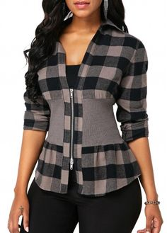 Long Sleeve Zipper Front Plaid Print Blouse - Trend Way Dress Trendy Tops For Women, Blouses For Women, Jackets For Women, Plaid Outfits, Casual Outfits, Mode Outfits, Fashion Outfits, Formal Blouses, Women's Blouses