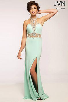 Halter Designer Prom Dress JVN20530