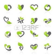 logo corazon: Eco-temáticos elementos de diseño en forma de corazón. Vector logo plantilla de conjunto.