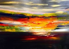 """Contemporary Artists of Kansas: Abstract Sunset Landscape Oil Painting """"Night Sunset"""" by Artist Lindy Wiese"""