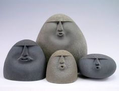 Stone sculpture, sand-blasted stones, sand-blasted stone sculpture xart jewelry & sand-blasted stones - sand-blasted-stones - New PinsSand-blasted stone sculptures - rocks with simple faces - cool!Sand blasted stone faces--I have some scattered in my Sculptures Céramiques, Sculpture Clay, Sculpture Ideas, Ceramic Pottery, Ceramic Art, Clay Figures, Stone Carving, Clay Projects, Pebble Art