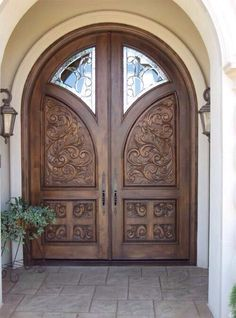 Can you imagine a house without doors? No matter how large or small a house is, well-made door design is essential to complete the structure. Wooden Main Door Design, Double Door Design, Door Gate Design, Room Door Design, Door Design Interior, Exterior Front Doors, Entry Doors, Double Front Doors, Cool Doors