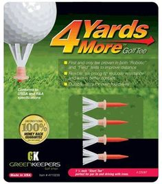 "4 Yards More Golf Tee - 1 3/4 - Red (4 Tees) by Green Keepers. $6.95. ""4 Yards More"" Golf Tee is a reusable golf tee that will add more yards to your driving distance. The tee is designed with a rigid polymer stake and a dynamic elastomer crown. The body and individual fingers of the crown flex with the force of the drive to reduce resistance at impact.  The ball launches off the tee with less friction and low ball spin resulting in longer, straighter drives.  In addi..."