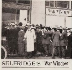 The Selfridges War Window displayed bulletins and maps to keep Londoners up to date during The Great War #MrSelfridge