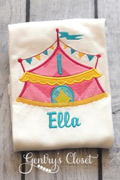 Carnival Tent Shirt for little girl with personalized name. Vintage Carnival birthday. Circus tent shirt. 1st birthday tshirt. on Etsy, $24.00