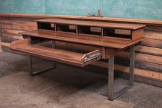 Rustic Reclaimed Audio Video Production Desk for by MonkandHoney