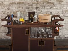 Moore and Giles Sidecar Bar Cart is the result of collaboration between Jim Meehan and Moore & Giles. This bar cart features world class bar design with Luxury Bar, Drinks Trolley, Rive Gauche, Sidecar, Kitchen Cart, Open Concept, Liquor Cabinet, Living Spaces, Cool Designs