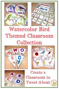 Are you looking for a TWEETABLE school style for your elementary classroom?  Your students will love learning in a classroom that is Bird Themed!  This Watercolor Bird Themed decor will make your activities and bulletin boards looks beautiful!  This back Classroom Word Wall, Owl Classroom, Classroom Decor Themes, School Classroom, School Fun, Classroom Organization, School Ideas, First Day Of School Activities, School Resources