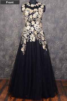 #Black classy #floor length #net gown with applique work-GW093