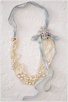Pearls and Ribbon....could totally do this w' several PD pieces :))