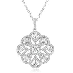 Sterling Silver Rhodium Plated and CZ Flower Necklace. Available through our Silver Block auction, live now! Diamond Pendant Necklace, Diamond Jewelry, Jewellery Sketches, Cross Jewelry, Stylish Jewelry, Diamond Studs, Photo Jewelry, Sterling Silver Necklaces, Beautiful Necklaces