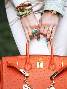 Hermes Ostrich Leather Satchel & Arm Party #hermes #accessories #stylingchaos