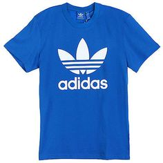 Adidas Originals Trefoil Tee Mens AJ8829 Bluebird White Logo T-Shirt Size 2XL