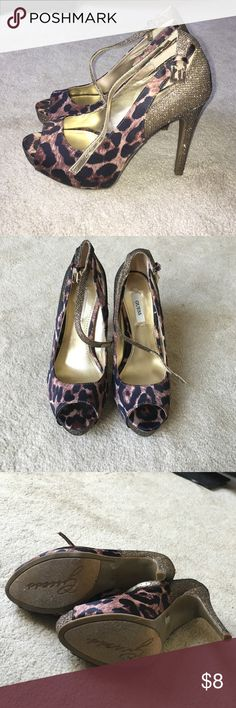 gold guess cheetah heels super comfortable! only worn once! they are perfect for vegas, a birthday party or New Year's Eve. I only wore them once! I don't dress up often so just have no need for them. Guess Shoes Heels