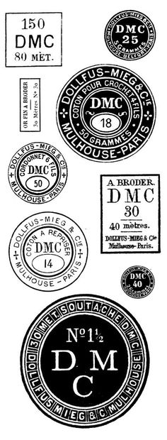 Love the look of these vintage DMC thread labels (and needlework is my favorite hobby) Vintage Labels, Vintage Ephemera, Vintage Stamps, Etiquette Vintage, Foto Transfer, Thread Spools, Typography, Lettering, Printable Labels