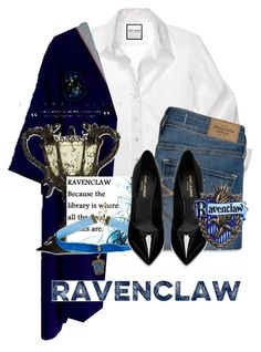"""""""Ravenclaw"""" by potterhead-roryandlogan4 on Polyvore featuring Abercrombie & Fitch, Warner Bros. and Yves Saint Laurent"""