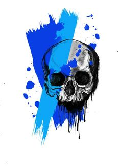 Trash polka skull tattoo design