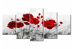 Tableau contemporain coquelicots - rouge  miracle 46895