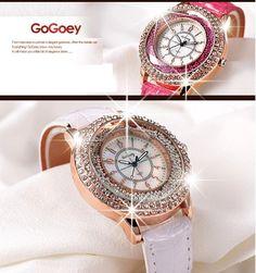 Relojo Gogoey a venda. Gogoey 2015 nova moda couro cristal diamante Rhinestone relógios mulheres beleza vestido de quartzo relógio de pulso horas Reloj Mujer em Brand Watches de Relógios no AliExpress.com | Alibaba Group
