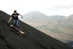 Volcano surfing on Cerro Negro in Leon, Nicaragua.