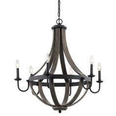 $249 •30-in D x 31.72-in H Kichler Merlot 30-in 6-Light Distressed Black and Wood Barn Candle Chandelier