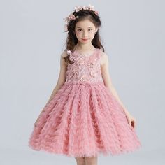 47.82$  Buy now - http://alicfw.shopchina.info/go.php?t=32805710099 - Layered Girls Dress Party Wear Girls Clothes Flower Girl Vestido for Wedding 2017 3 4 6 8 10 12 14 Years Old RKF174031 47.82$ #SHOPPING