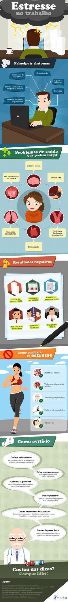 Dicas úteis de como evitar o estresse no trabalho! #infográfico #saúde #produtividade