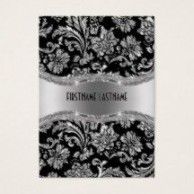 Elegant black and shiny metallic silver vintage ornate floral damasks pattern fully customizable business card template. Available on other products.