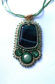 Forest's Treasure  .... Handmade Beaded Pendant - Memet Jewelry by MyMemet on Etsy