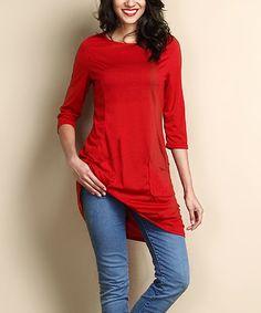 Look at this #zulilyfind! Red Three-Quarter Sleeve Dual Pocket Tunic #zulilyfinds
