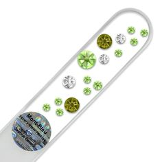 Mont Bleu Crystal Glass Nail File hand decorated with Swarovski crystals, Hand Made in Czech Republic (Europe), Czech Tempered Glass, Lifetime Guaranty, in Suede Sleeve (Peridot - Crystal) Lima, Glass Nail File, Gel Designs, Crystal Nails, Crystal Design, Nail Tools, Nail Care, Black Velvet, Peridot