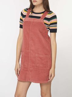 Pink Cord Pinafore Dress