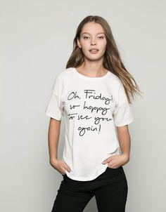 T-shirt Bershka textos estampados - New - Bershka Portugal