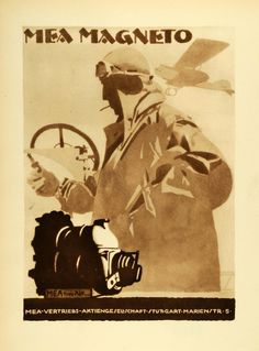 1926 Photogravure Ludwig Hohlwein Mea Magneto German Vintage Airplane POSA5