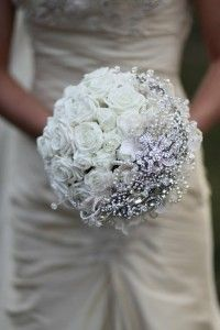 cinderella style wedding bouquet with pink flowers instead and BLING