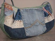 Crazy quilt denim purse