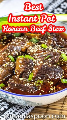 Seriously, the yummiest Instant Pot Korean Beef Stew you'll ever make! Sweet, savory with hints of sesame and spice plus melt-in-your-mouth tender beef, you'll be making this delicious beef stew over and over again!