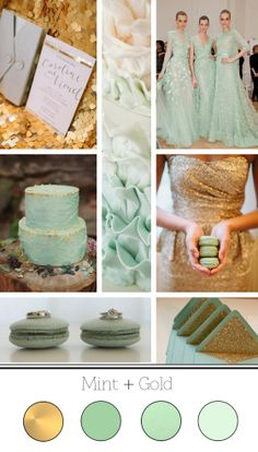 mint bridesmaid dresses top right, the dress in the middle! I like the colors mint and gold Mint Gold Weddings, Wedding Mint Green, Orange Weddings, Wedding Wishes, Our Wedding, Wedding Wows, Gatsby Wedding, Wedding Stage, Wedding Color Schemes