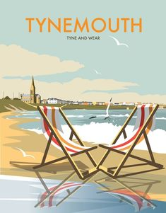 East Urban Home A stunning design of Tynemouth, Tyne and Wear. By talented artist, Dave Thompson. Thompson's art revisits a classic era of poster design, taking many elements of popular travel art, while remaining current and vibrant. Posters Uk, Railway Posters, Poster Prints, Art Prints, Retro Posters, Portsmouth, North Shields, North East England, Vintage Travel Posters