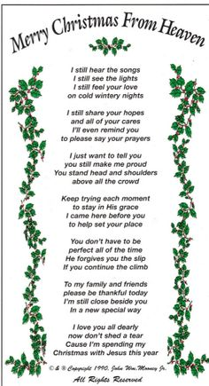 First Christmas in Heaven Poem Printable | My first Christmas ...