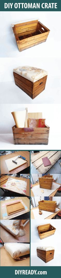 Wooden Crate Storage Box Seat With Lining Upcycle