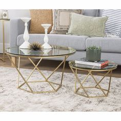 Silver Orchid Grant Geometric Glass Nesting Coffee Tables in Gold (As Is Item) (Gold), Brown New Living Room, Living Room Furniture, Living Room Decor, Round Coffee Table, Modern Coffee Tables, Round Dining, Tempered Glass Table Top, Table Cafe, Design Salon