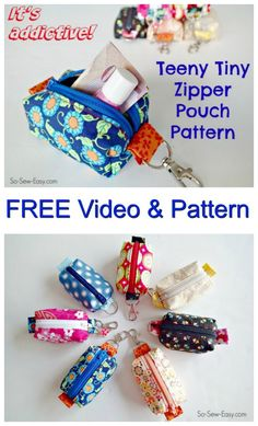 Here is a great FREE pattern & video from an awesome sewing website and designer. You can learn how to sew a cute Teeny Tiny zipper pouch to go on your key ring or clip on your bag. Just enough to carry a lip balm, a little money, etc. Sometimes you don't need a bag. Just something small enough to take a lip balm and a few notes and coins. #FreeBagPattern #FreeSewingPattern #SewingVideo #ZipperBagPattern #CoinPursePattern #LearnToSewBags Sewing Projects For Beginners, Sewing Hacks, Beginner Sewing Projects