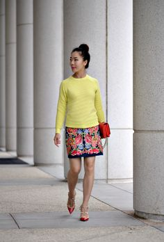 Fall Forward: Yellow Sweater and Embroidered Skirt - Hallie Daily