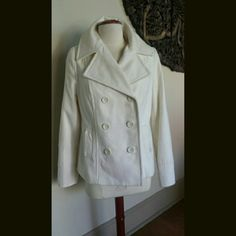 Selling this Old Navy Cream Pea Coat on Poshmark! My username is: uptownbella. #shopmycloset #poshmark #fashion #shopping #style #forsale #Old Navy #Jackets & Blazers
