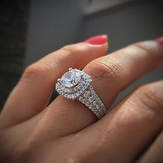 Gabriel & Co. White Gold Diamond Double Halo Engagement Ring Setting - List of the best jewelry Double Halo Engagement Ring, Dream Engagement Rings, Engagement Ring Settings, Halo Wedding Rings, Double Band Wedding Ring, Wedding Band, You Are My Moon, Do It Yourself Fashion, To Infinity And Beyond