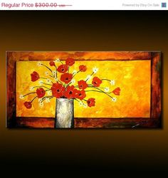 Original Modern Abstract  Floral Painting red by newwaveartgallery, $270.00