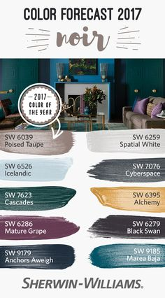 At the center of the romanticism that drives the Noir palette, we find our 2017 Color of the Year, Poised Taupe SW 6039. It's a timeless neutral, a complex combination of warm brown and cool gray that anchors us among the Nordic blues and golden yellows o
